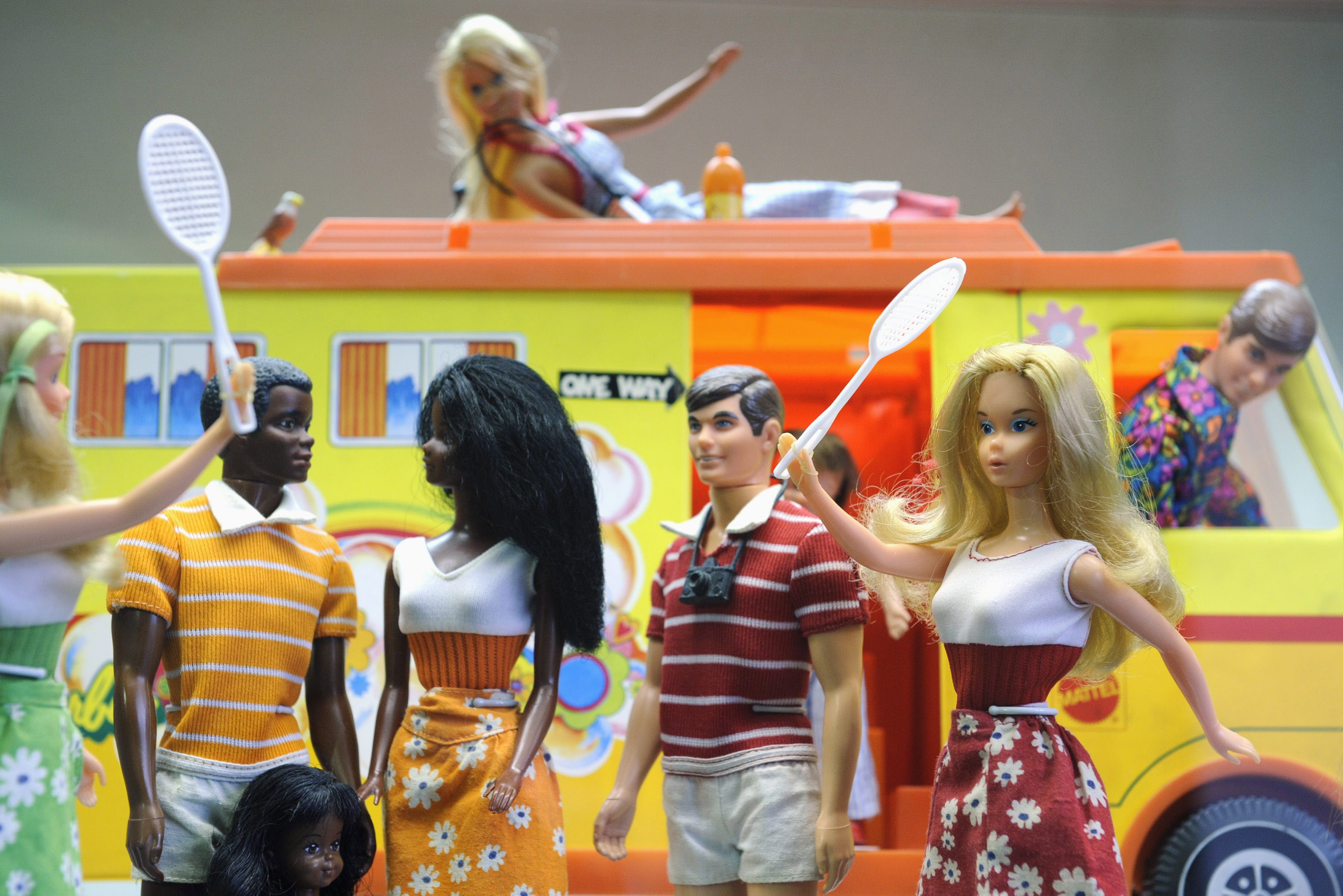 Barbie and Ken dolls are on display at t