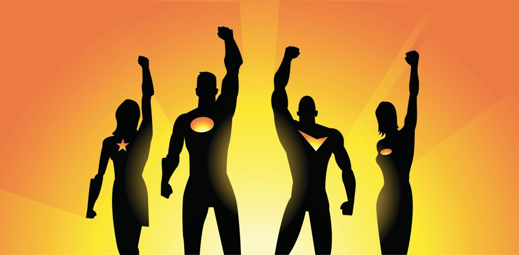 Superheroes Team Raising Fist in Silhouette