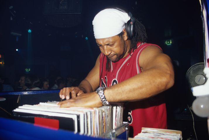 DJ Kool Herc, looking through his records, DJing, Blackpool, UK 07.10.2000