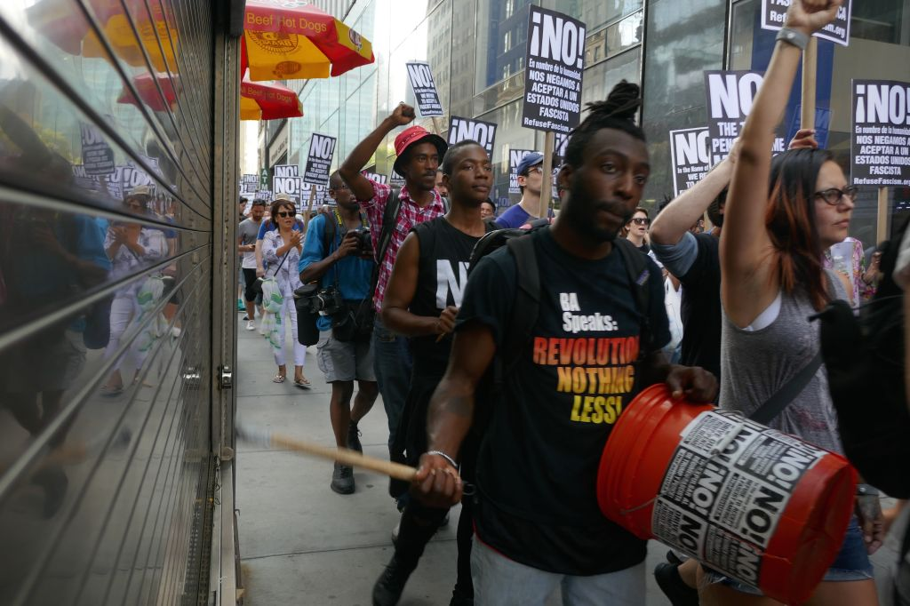 Protest in New York against violence in Virginia