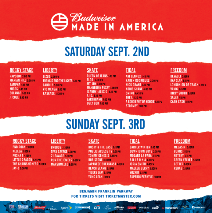 Made In America lineup and schedule