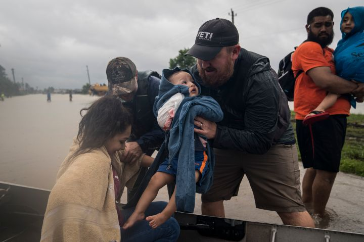 A family is rescued in Houston.