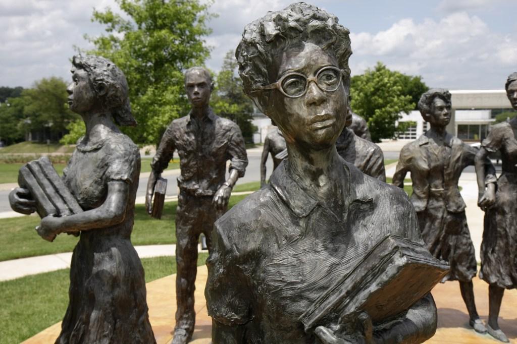 Little Rock Nine, life-size sculptures.