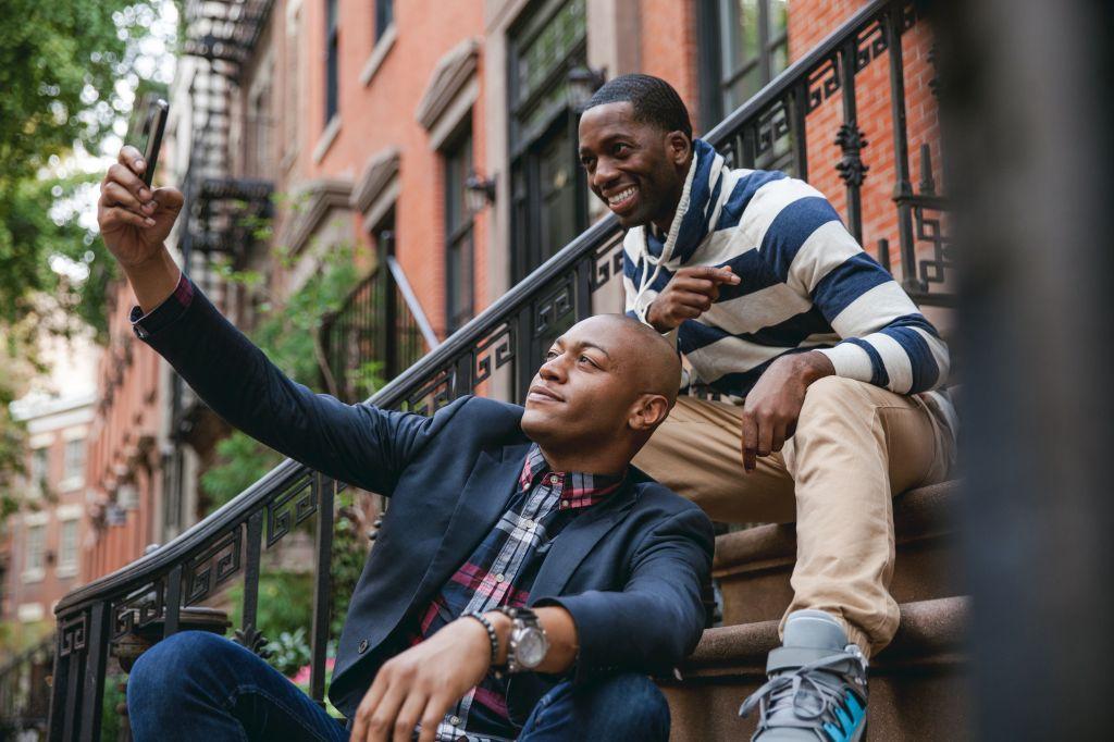 Happy gay couple in New York