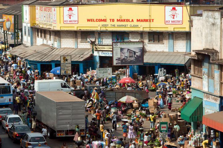 Street market scene near Makola market