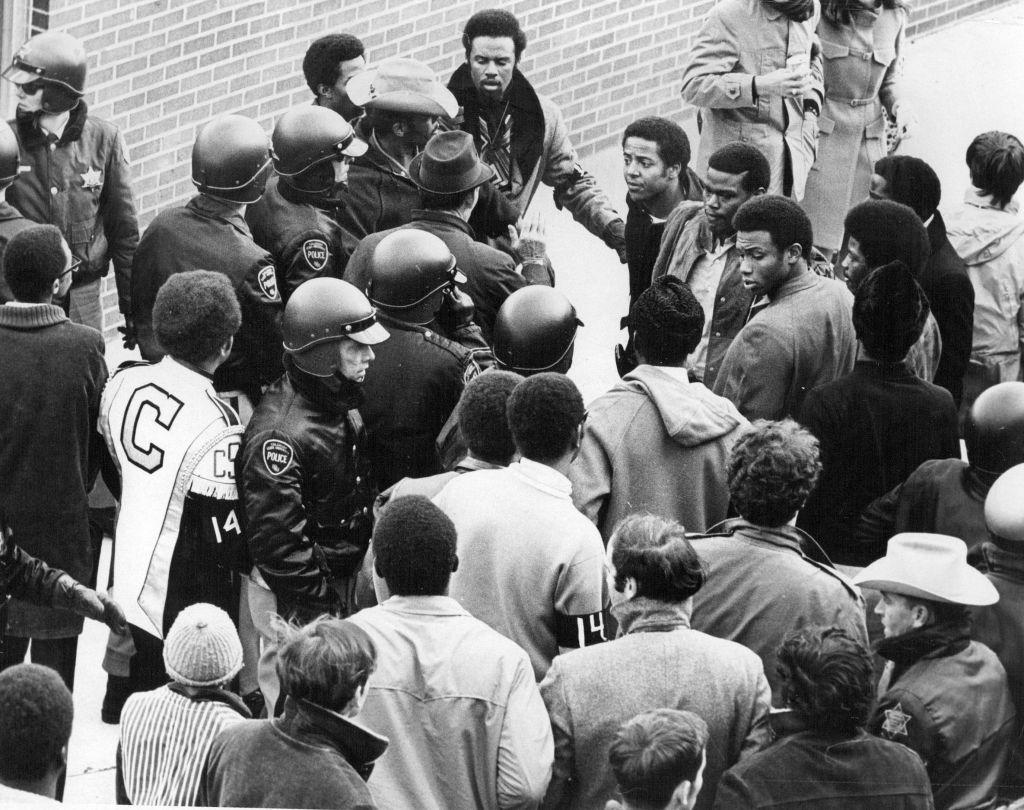 NOV 2 1969; Disturbance Mars CSU Football Game; Several helmeted Colorado State University policemen