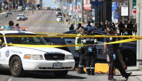 Police investigate a van that ran down pedestrians along Yonge Street between Sheppard and Finch streets in Toronto
