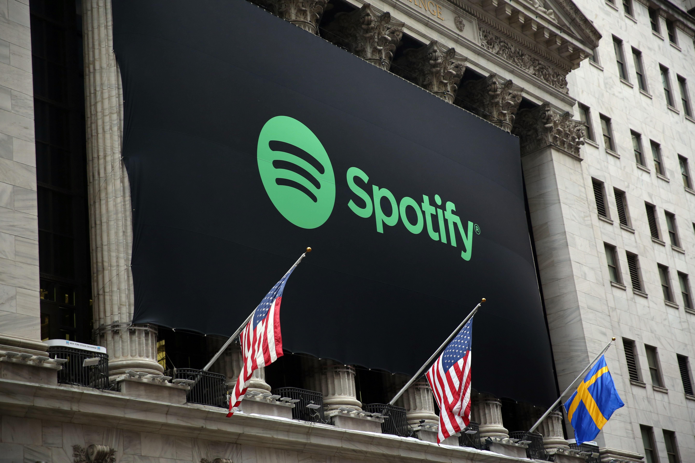 Spotify Logo on the New York Stock Exchange