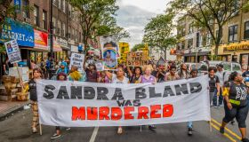 About a thousand Black Lives Matter activists rally at the...