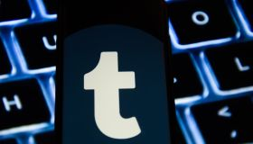 Tumblr logo is seen on an android mobile phone...