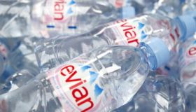 Picture shows: Bottles of Evian water; a Danone product.