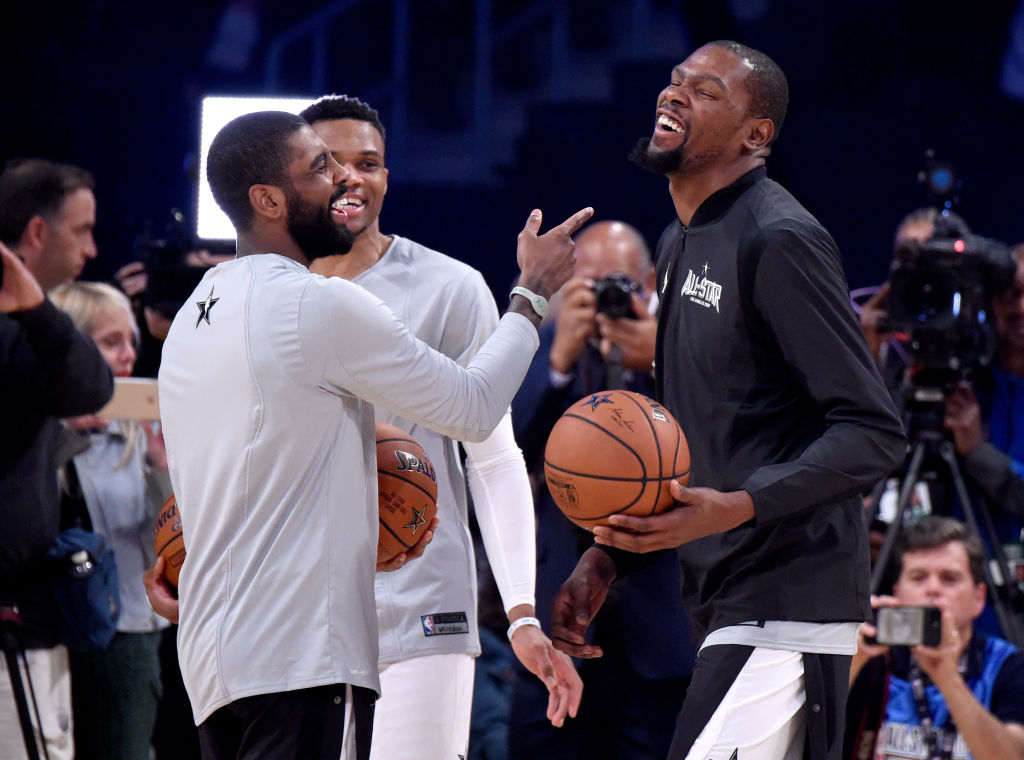 Video of Kyrie Irving & Kevin Durant Talking Has Knicks Fans Buzzing