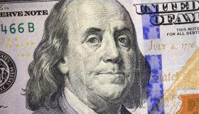 Benjamin Franklin portrait on a one hundred dollar bill, close up
