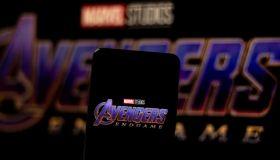 In this photo illustration an Avengers Endgame logo seen...