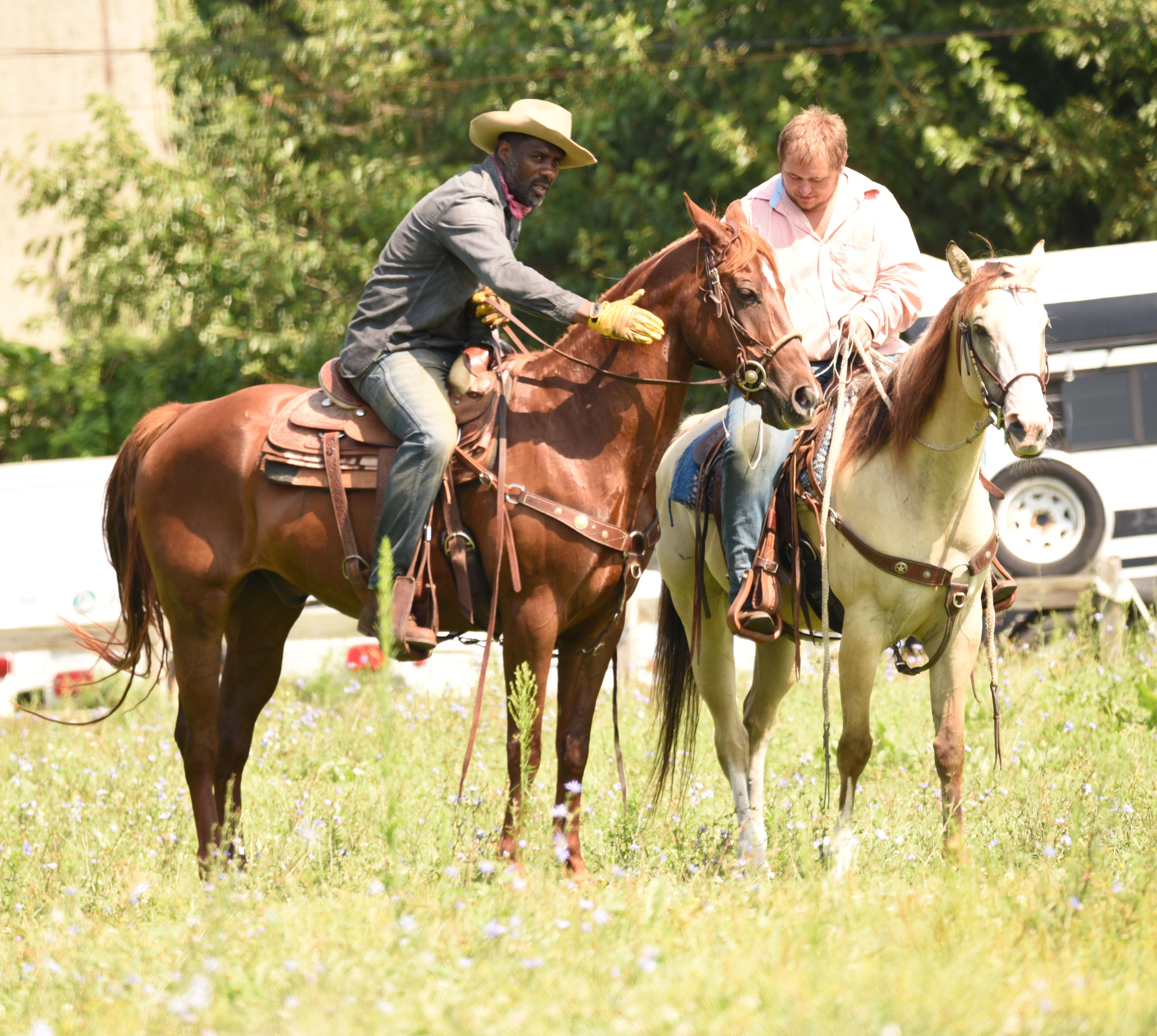 Idris Elba on the set of 'Ghetto Cowboy'