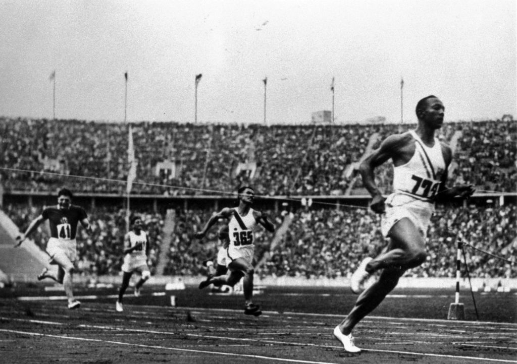 Jesse Owens running at the 1936 Olympics in Berlin.