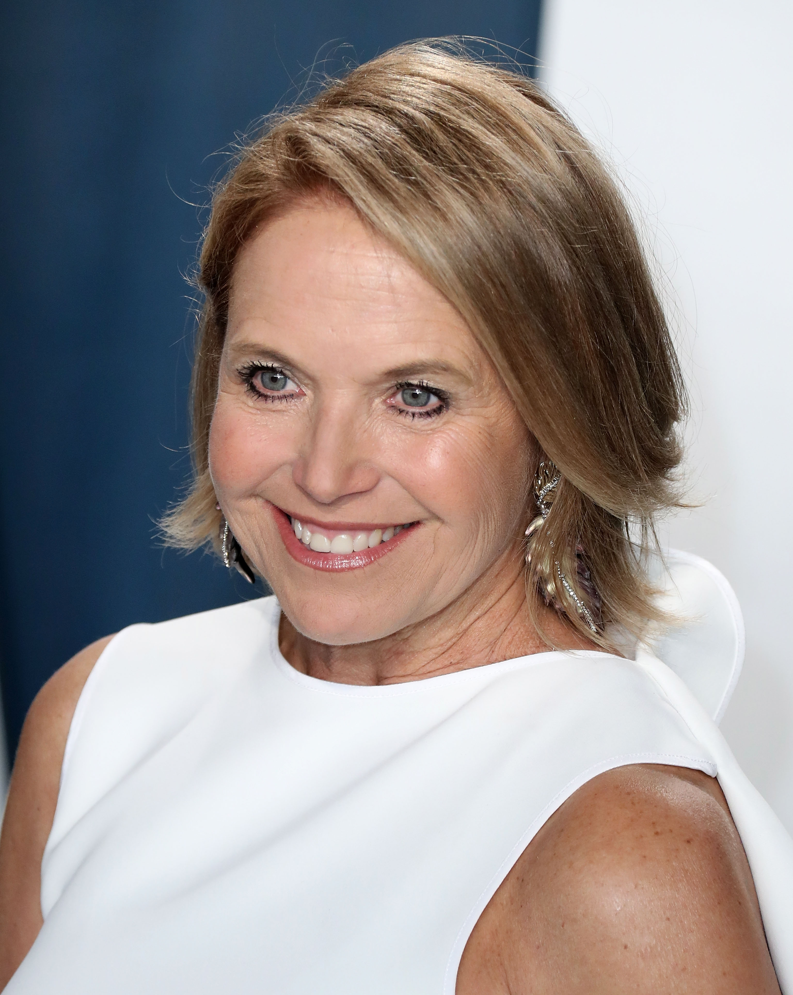 Katie Couric arrives at the 2020 Vanity Fair Oscar Party held at the Wallis Annenberg Center for the...