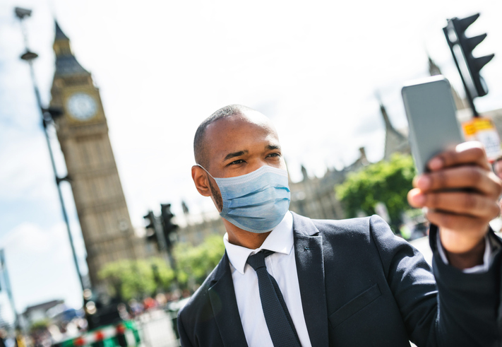 businessman in london with mask