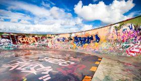 Skateboard pipe with graffiti