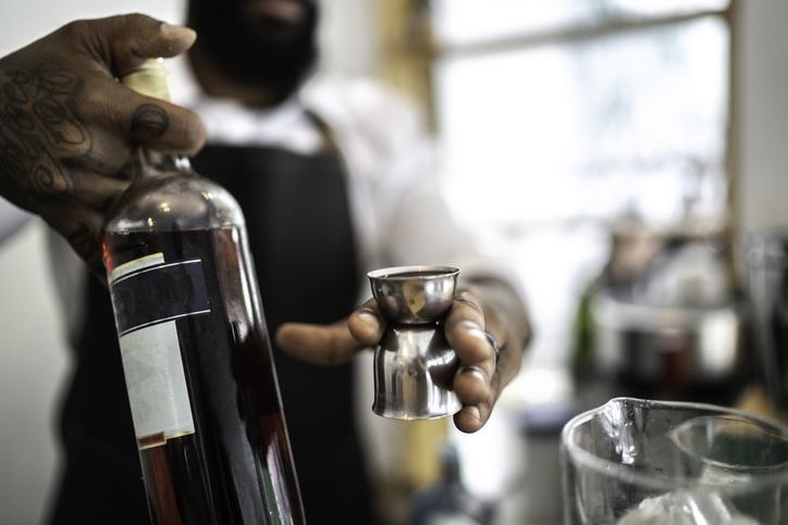 Bartender preparing a drink in the bar