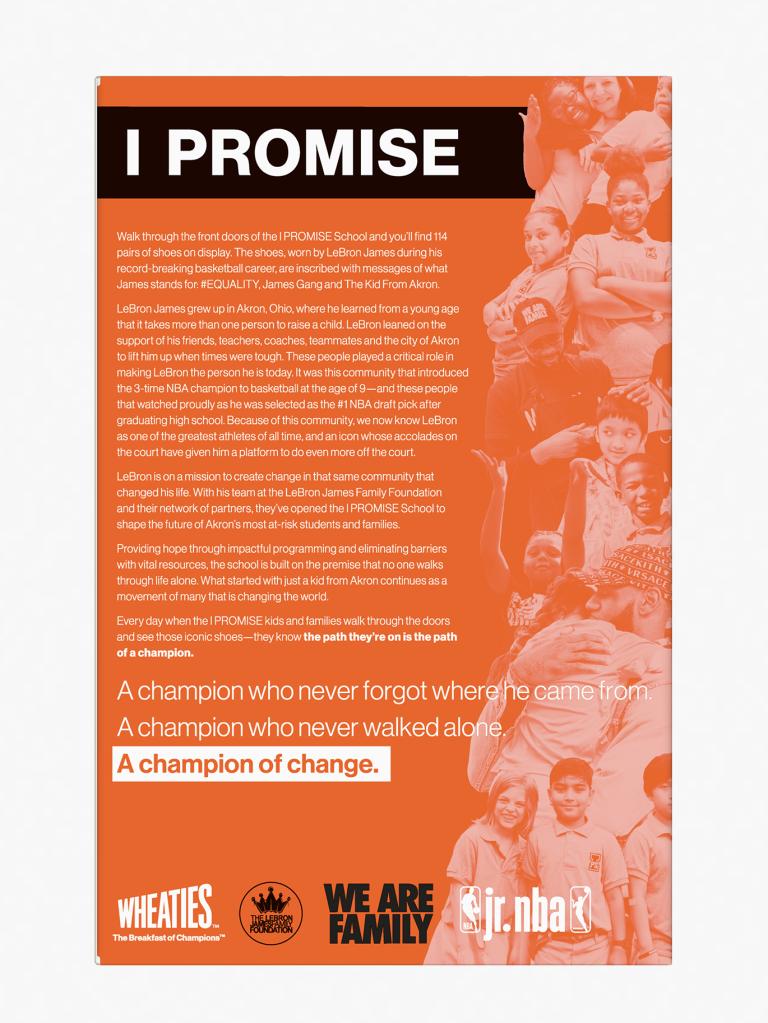 LeBron James & I Promise School On Wheaties Box
