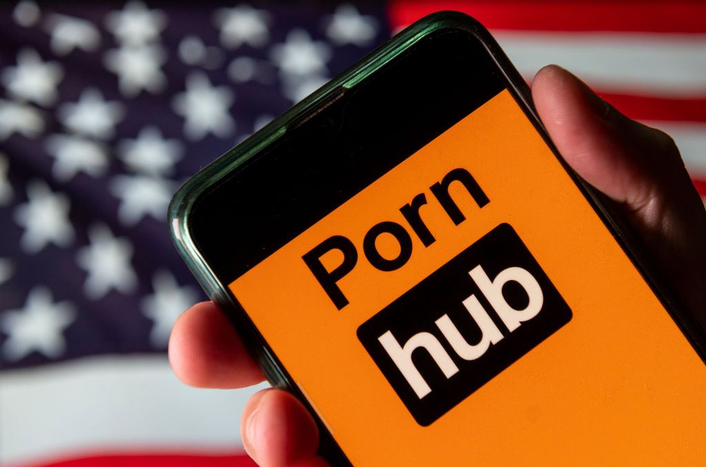 In this photo illustration the adult pornographic video...