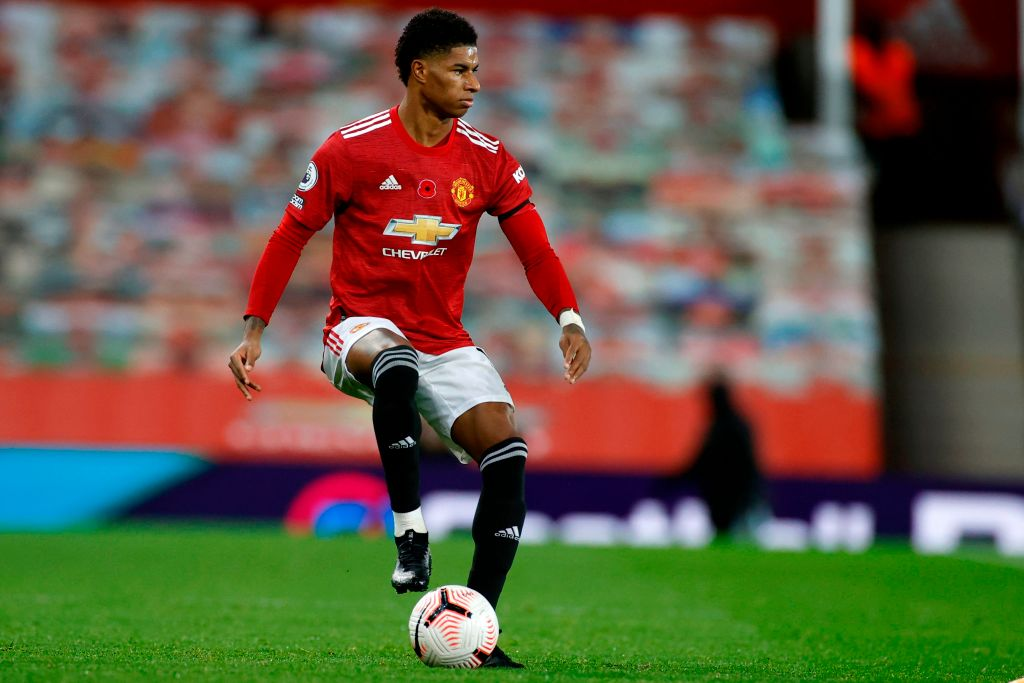 Soccer Player Marcus Rashford Plays Against Arsenal At Old Trafford on November 1, 2020