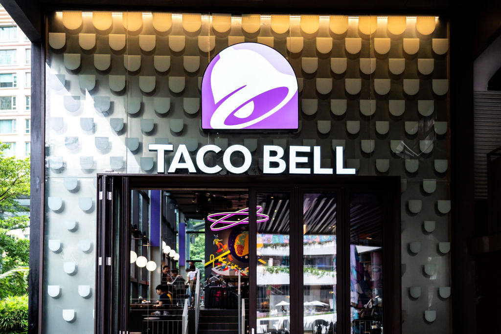 American fast food restaurants chain Taco Bell store and...