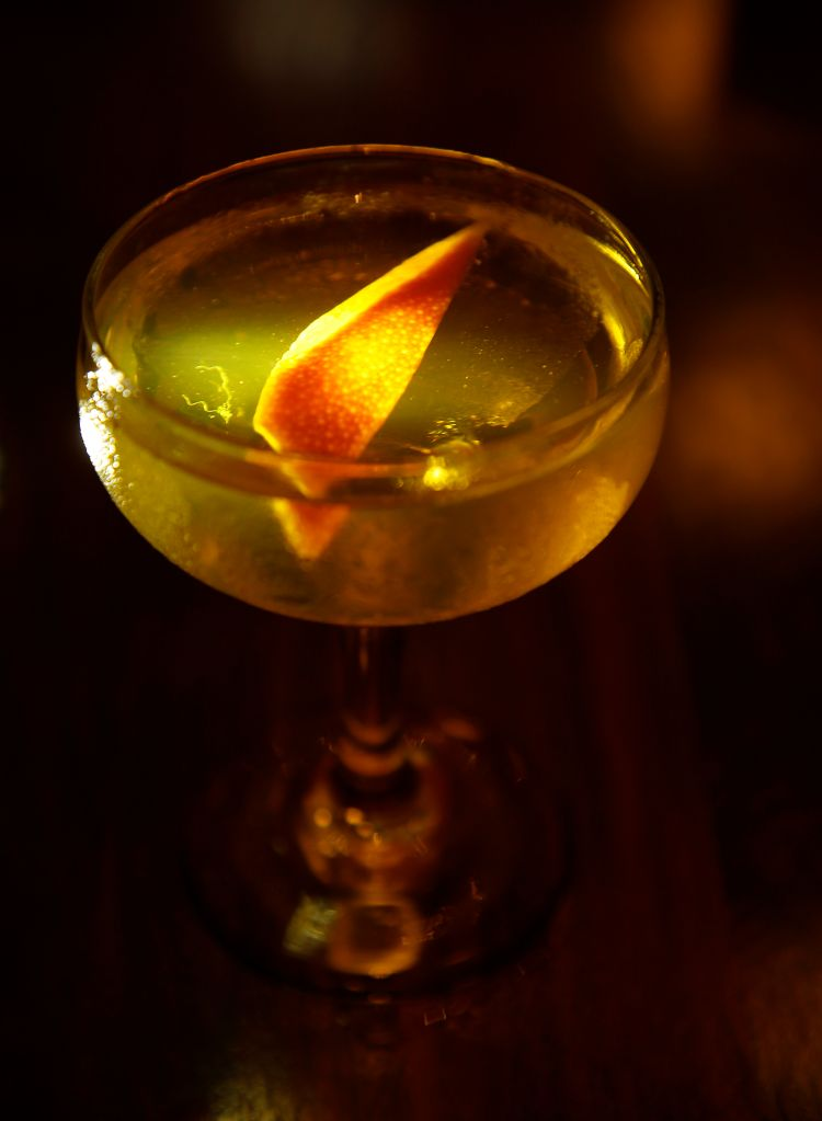 The Bijou cocktail is photographed at Pompette on Wednesday, Sept. 13, 2017, in Berkeley, Calif. The drink consists of Plymouth gin, Green Chartreuse, and Antica sweet vermouth. (Aric Crabb/Bay Area News Group)