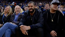 Canadian rapper Drake winks to the camera while attending the Golden State Warriors vs. San Antonio Spurs game at Oracle Arena in Oakland, Calif., on Monday, Jan. 25, 2016. (Jose Carlos Fajardo/Bay Area News Group)