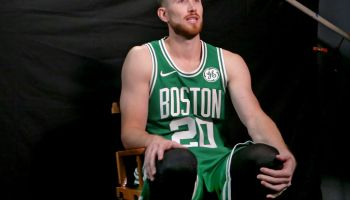 CANTON MA. - SEPTEMBER 30: Gordon Hayward is interviewed during the Boston Celtics Media Day on September 30, 2019 in Canton, MA. (Staff Photo By Nancy Lane/MediaNews Group/Boston Herald)