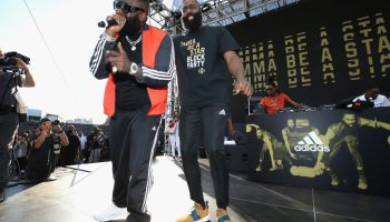 """James Harden Returns to Audubon Middle School in Los Angeles for """"Imma Be a Star"""" Block Party"""