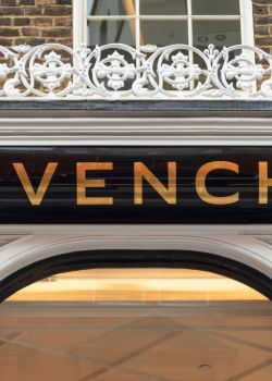 Branding sign of the Givenchy store in the prestigious New...