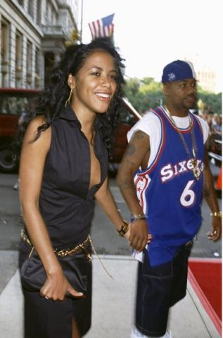 Singer Aaliyah and music producer Damon Dash arrive at the P