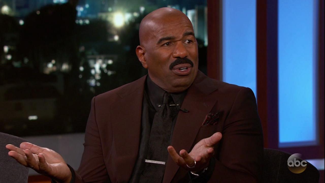 Steve Harvey during an appearance on ABC 'Jimmy Kimmel Live!'