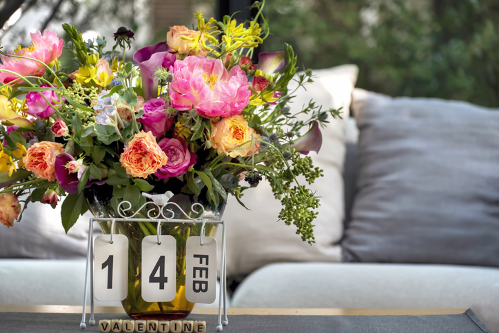 Beautiful flowers in a vase for Valentine's Day.
