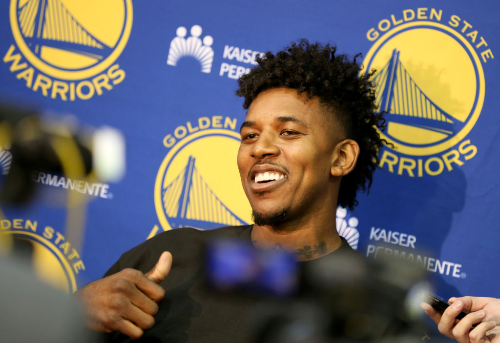 Golden State Warriors' Nick Young speaks with the news media from the team's practice facility in Oakland, Calif., on Friday, July 7, 2017. The Warriors have signed the free agent guard. (Anda Chu/Bay Area News Group)