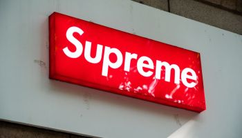 American skateboarding shop and clothing brand Supreme logo...