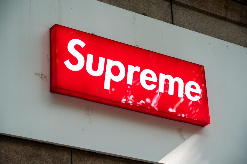 American skateboarding shop and clothing brand Supreme logo...
