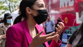 U. S. Representative Alexandria Ocasio-Cortez wearing suit...