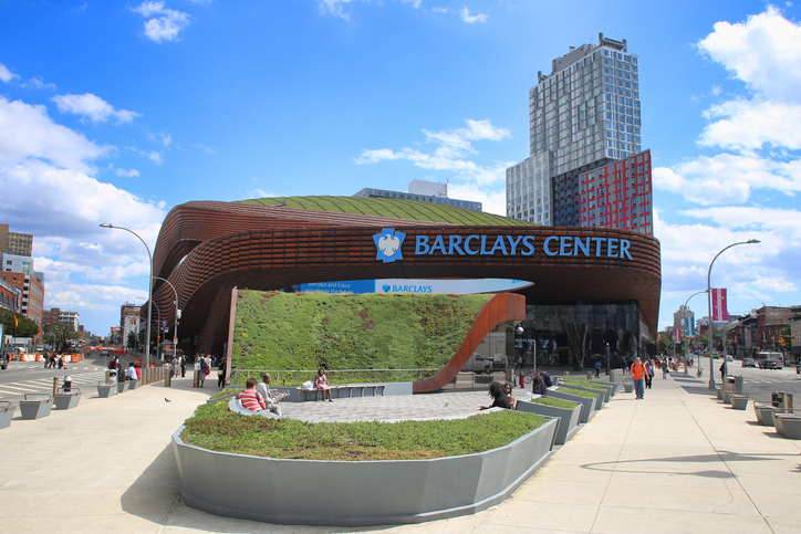 View of the Barclays Center indoor Arena on Atlantic Avenue in Brooklyn, part of the complex now known as Pacific Park. Brooklyn, New York City, USA