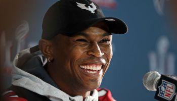 (020117 Houston, TX) Julio Jones laughs during the Atlanta Falcons media availability in Houston on Wednesday, February 1, 2017. Staff Photo by Nancy Lane