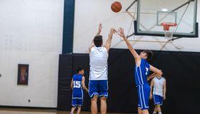 High school basketball scrimmage