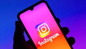 In this photo illustration the Instagram logo seen displayed...