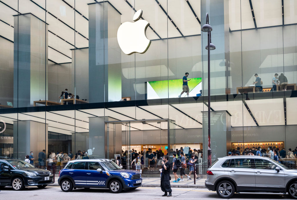 American multinational technology company Apple store seen...