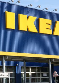 IKEA sign seen outside its showroom in Vitrolles. Accused of...