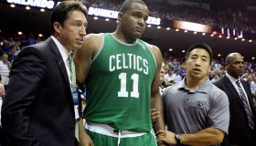 (052610 Orlando, FL ) Boston Celtics forward Glen Davis is taken off the court after getting injured in the second half of Game 5 of the Eastern Conference Semifinals NBA basketball game against the Orlando Magic at the Amway Arena Wednesday, May 26